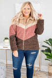 jacket, coat, color block, mauve, tan, brown, teddy, fluffy, zip up