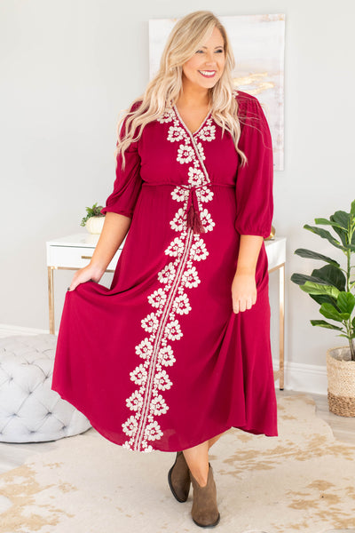 dress, maxi, curved hem, three quarter sleeve, vneck, wrap top, tie waist, burgundy, embroidery, white, flowy, comfy