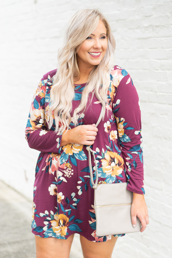 dress, short, long sleeve, flowy, burgundy, floral, mustard, green, red, white, comfy