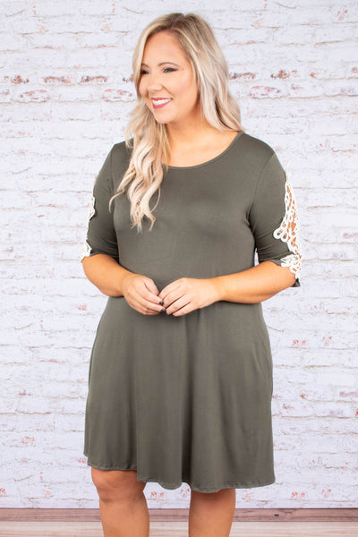 dress, short, short sleeve, lace sleeve detail, flowy, olive, comfy, fall, winter