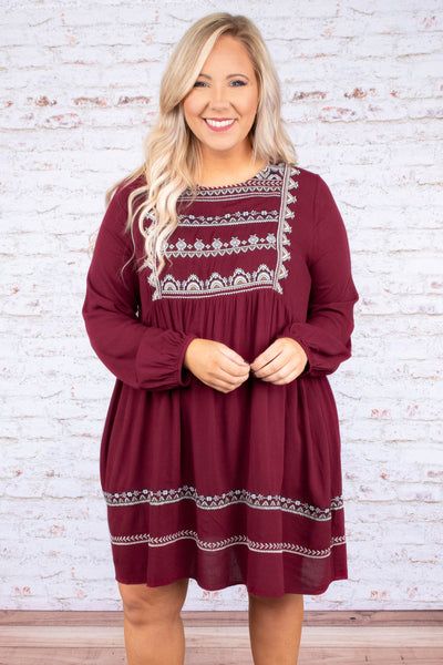 No More Broken Hearts Dress, Burgundy