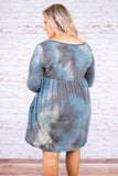 dress, short, long sleeve, scoop neck, babydoll, pockets, navy, white, blue, tie dye, comfy, fall, winter, sparkly