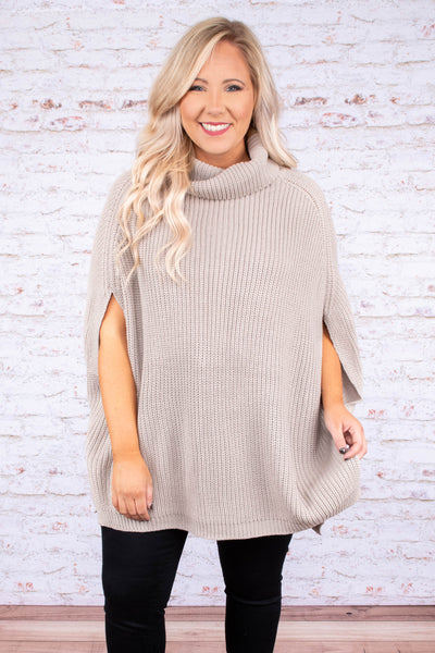 gray, solid, top, poncho, cowl neck