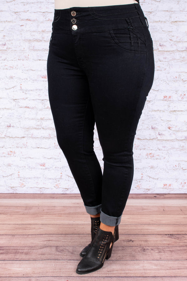 jeans, black, high rise, 30 inseam, three button, skinny, high waisted
