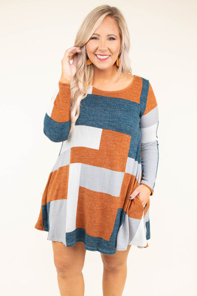 dress, short, long sleeve, pockets, teal, orange, white, gray, colorblock, flowy, comfy