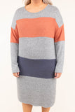 dress, midi, long sleeve, fitted, gray, orange, colorblock, comfy, fall, winter