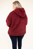 top, hoodie, pullover, burgundy, fluffy, hood, pockets, long sleeve, comfy, cozy