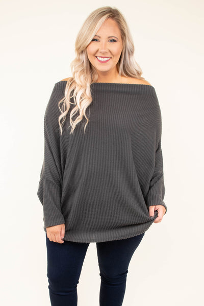 sweater, long sleeve, off the shoulder, long, ribbed, loose, charcoal, solid, comfy, fall, winter