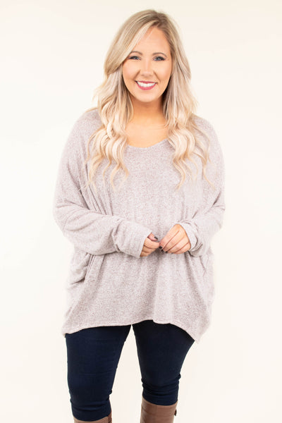 shirt, long sleeve, loose sleeves, flowy, scoop neck, long, frumpy, comfy, tan, solid, fall, winter