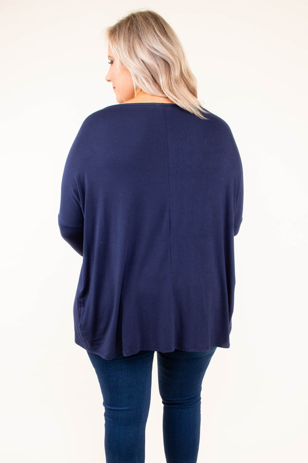 shirt, long sleeve, long, navy, solid, flowy, basic, fall, winter