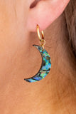 earrings, small hoops, dangly, charms, star, moon, abalone finish, dark