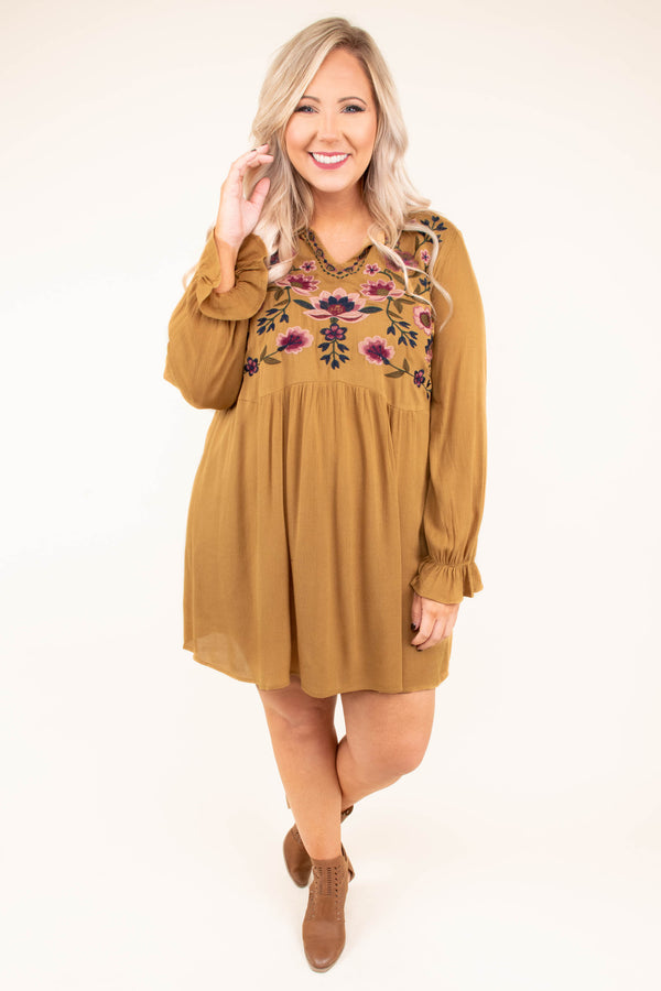 dress, short, long sleeve, vneck, babydoll, bubble sleeves, flowy, mustard, embroidery, purple, pink, green, comfy, fall, winter