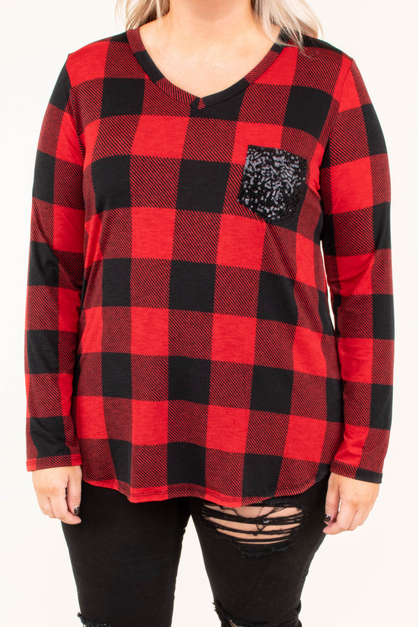 shirt, long sleeve, vneck, curved he,. chest pocket, glitter pocket, black, red, plaid, comfy, fall, winter