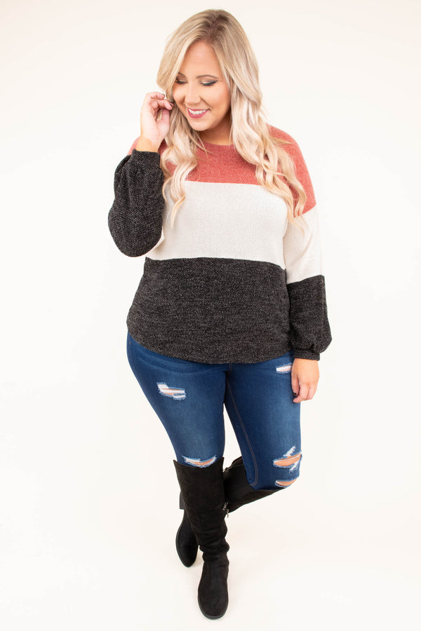 sweater, long sleeve, bubble sleeve, curved hem, short, rust, white, black, colorblock, comfy, fall, winter