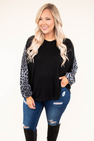 shirt, long sleeve, bubble sleeve, longer back, flowy, black, leopard sleeves, gray, comfy, fall, winter