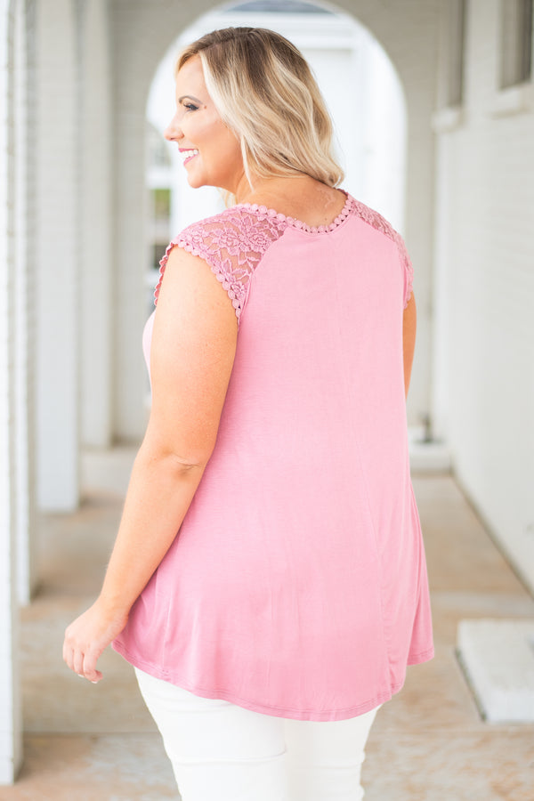 shirt, cap sleeve, lace top, flowy, mauve, comfy