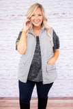 vest, pockets, zip up, fuzzy lining, gray, outerwear, fall, winter, comfy