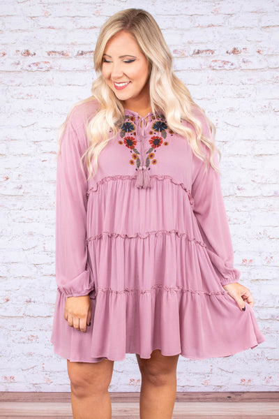 dress, short, long sleeve, bubble sleeves, tie neckline, ruffles, embroidered, mauve, flowy, comfy