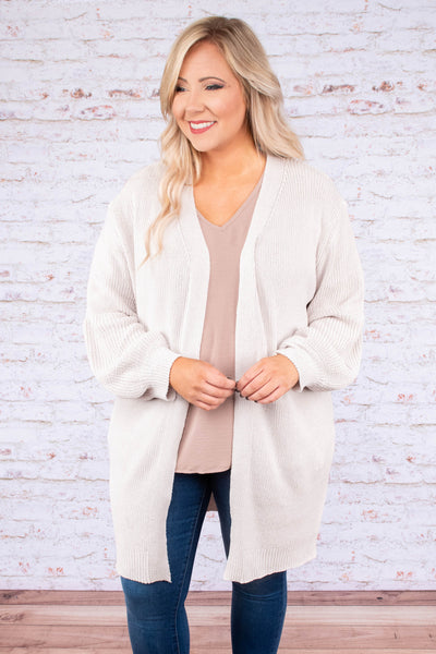cardigan, long sleeve, bubble sleeve, long, oatmeal, solid, comfy, fall, winter
