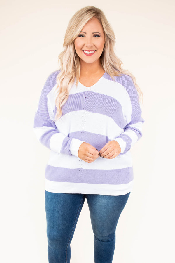 top. long sleeve, sweater, v neck, color block, stripes, lilac, ivory