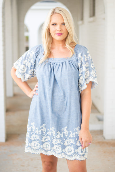 dress, short, short sleeve, bell sleeves, square neckline, scallop hems, blue, embroidery, white, flowy, comfy, spring, summer