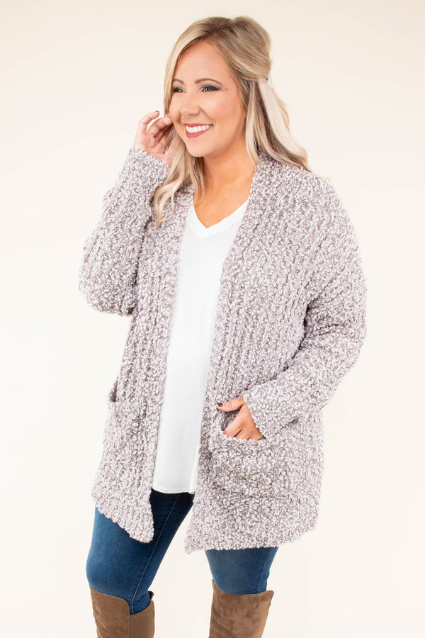 cardigan, long sleeve, snuggly, cozy, pockets, knit, sweater, heather gray