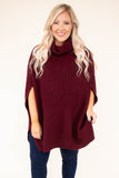 poncho, short sleeve, cowl neck, long, knitted, burgundy, solid, comfy, flowy, fall, winter