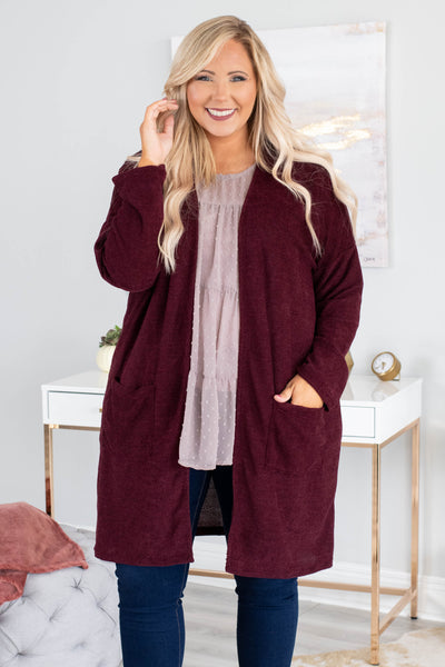I Don't Care Cardigan, Burgundy