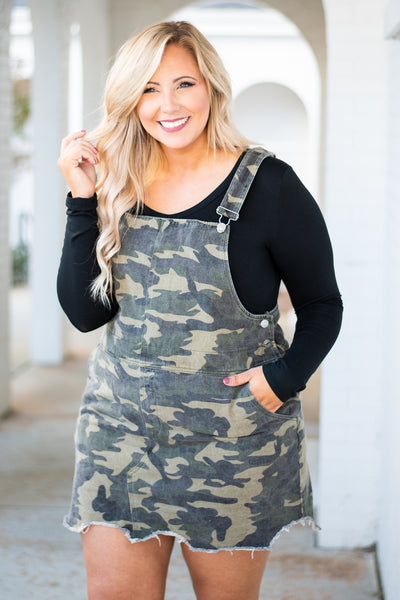 jumper, overall snaps, short, distressed hem, green, camo, pockets, fall