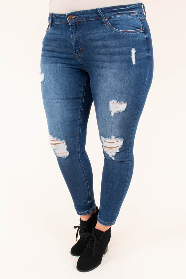 jeans, bottoms, blue, distressed, ripped, faded, dark wash