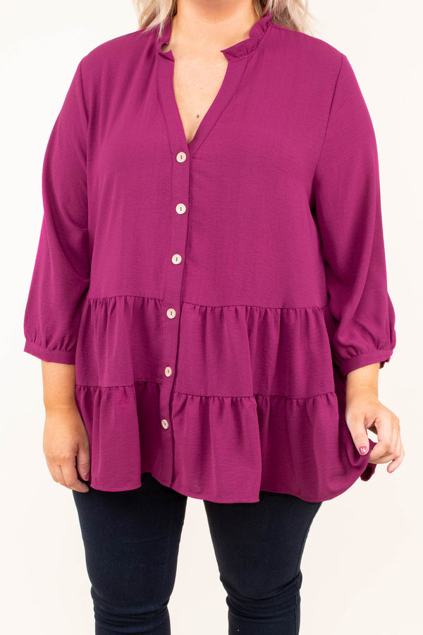 blouse, three quarter sleeves, plum, babydoll, flowy, tunic, spring, fall, vneck, buttons