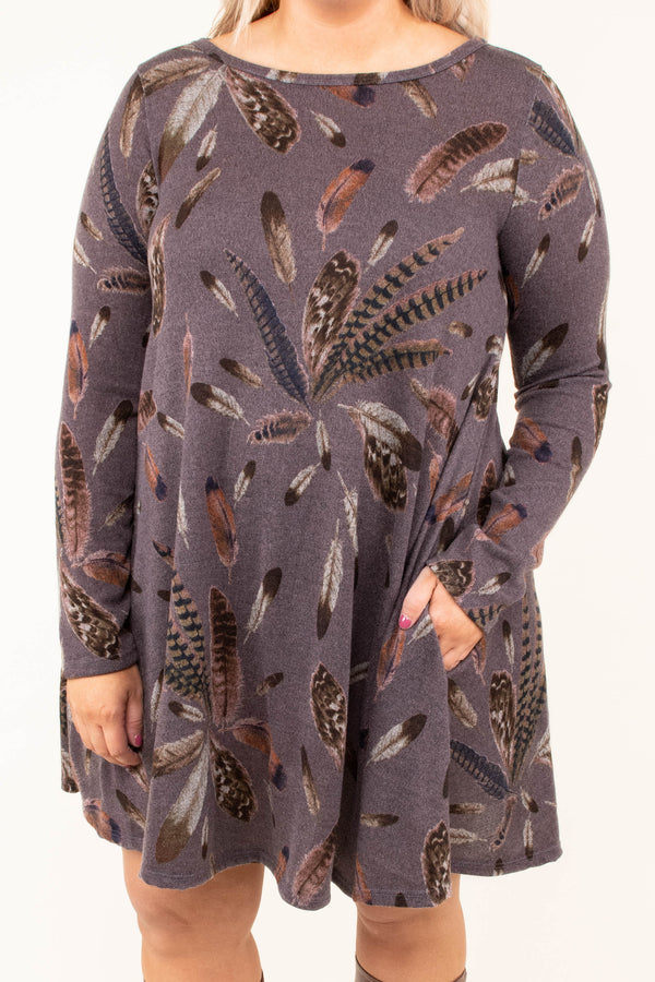 dress, short, long sleeve, flowy, purple, feathers, brown, gray, comfy, fall, winter