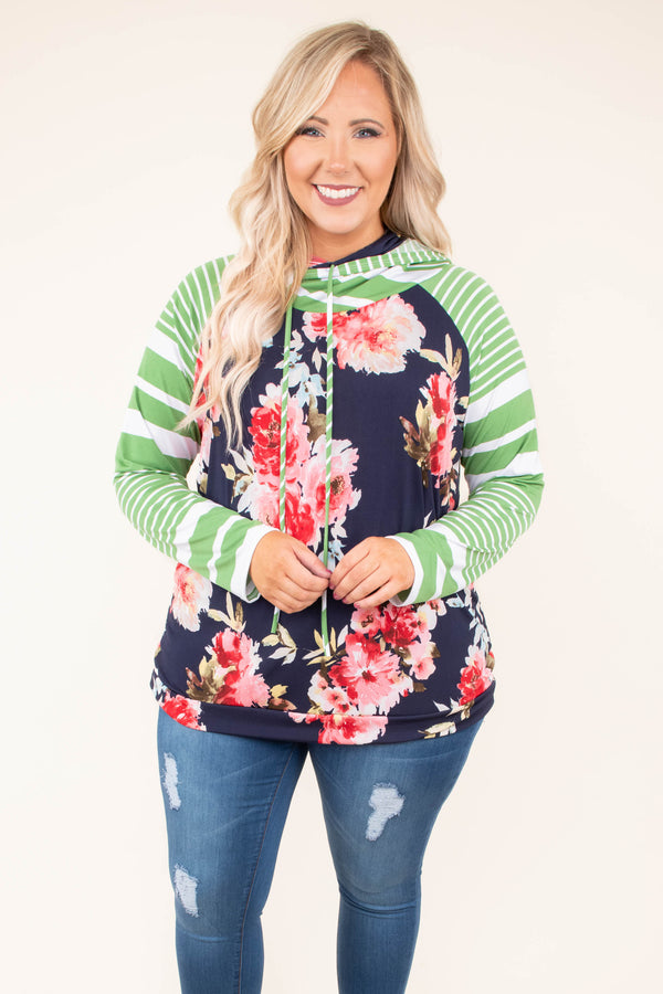 hoodie, long sleeve, hood, drawstrings, fitted waistband, curved hem, green, white, stripes, navy, red, floral, striped sleeves, comfy, outerwear