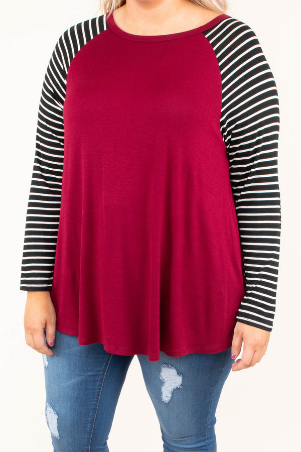 shirt, long sleeve, elbow patches, long, flowy, curved hem, burgundy, striped sleeves, black, white, comfy, fall, winter