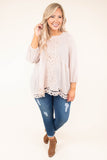 shirt, three quarter sleeve, lace details, waffle knit, bubble sleeves, flowy, comfy, babydoll, peach