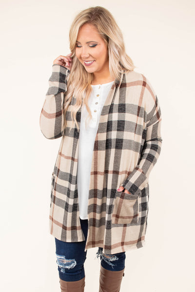 cardigan, long sleeve, pockets, long, flowy, taupe, black, brown, plaid, comfy, outerwear, fall, winter