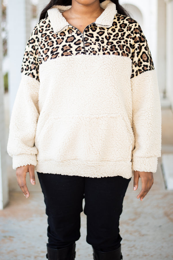 pullover, long sleeve, quarter zip, front pocket, white, leopard, brown, black, colorblock, fuzzy, comfy, outerwear, fall, winter