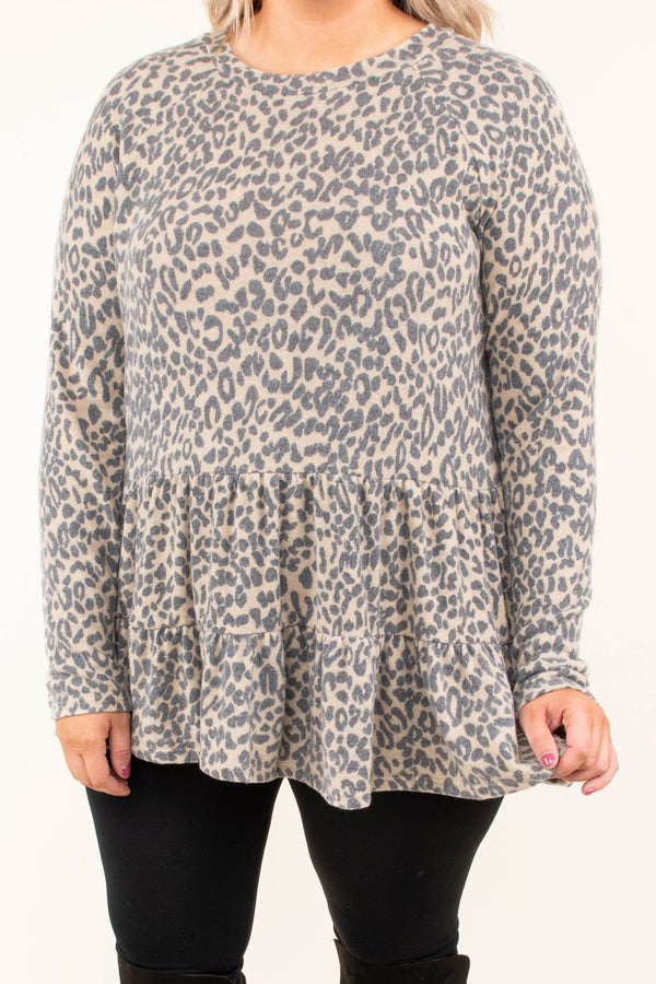 shirt, long sleeve, babydoll, leopard, light brown, gray, fall, winter