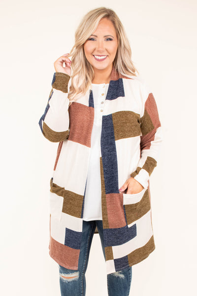 cardigan, long sleeve, white, blue, brown, red, colorblock, long, warm, cozy, pockets, outerwear, fall