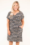 dress, short sleeve, camo, green, pockets, v neck