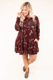 dress, short, long sleeve, burgundy, brown, feathers, flowy, warm, fall, winter