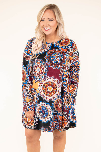 dress, short, long sleeve, red, yellow, black, orange, blue, white, funky, floral, flowy, fall