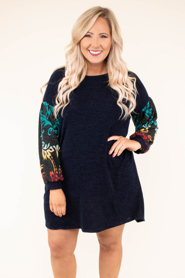 dress, long sleeve, short, flowy, navy, floral sleeves, fall, winter