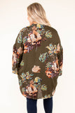 kimono, long sleeve, flowy, olive, floral, outerwear