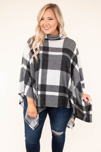 poncho, three quarter sleeves, cowl neck, black, white, plaid, asymmetrical hem, outerwear, fall, winter