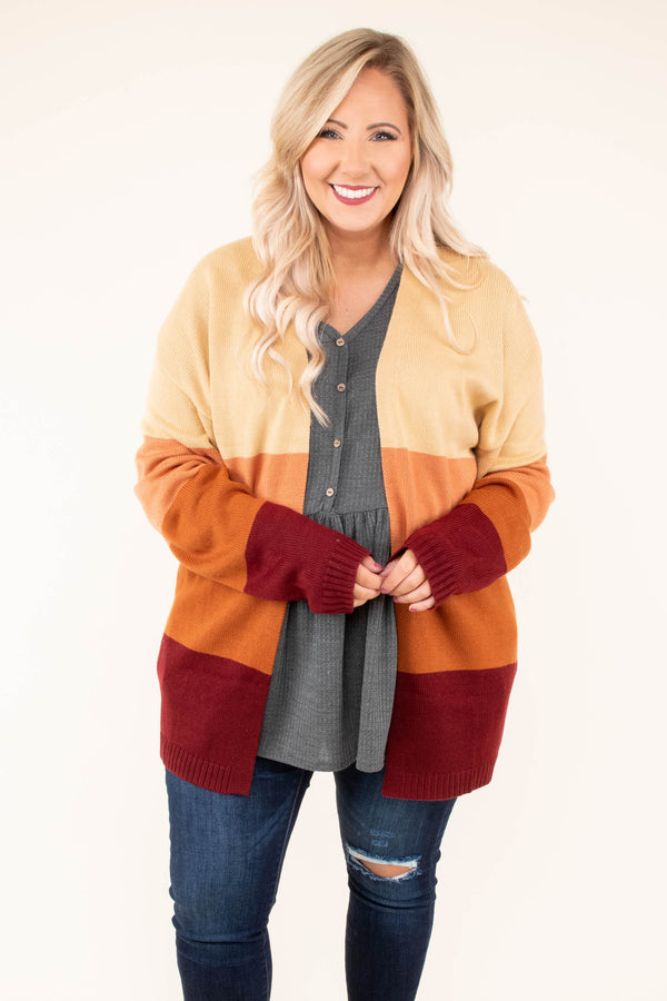 cardigan, colorblock, yellow, orange, red, long sleeve, warm, cozy, fall