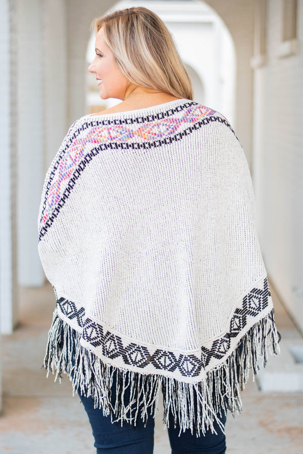 poncho, long sleeve, long, fringe, white, embroidered, comfy, outerwear, fall, winter