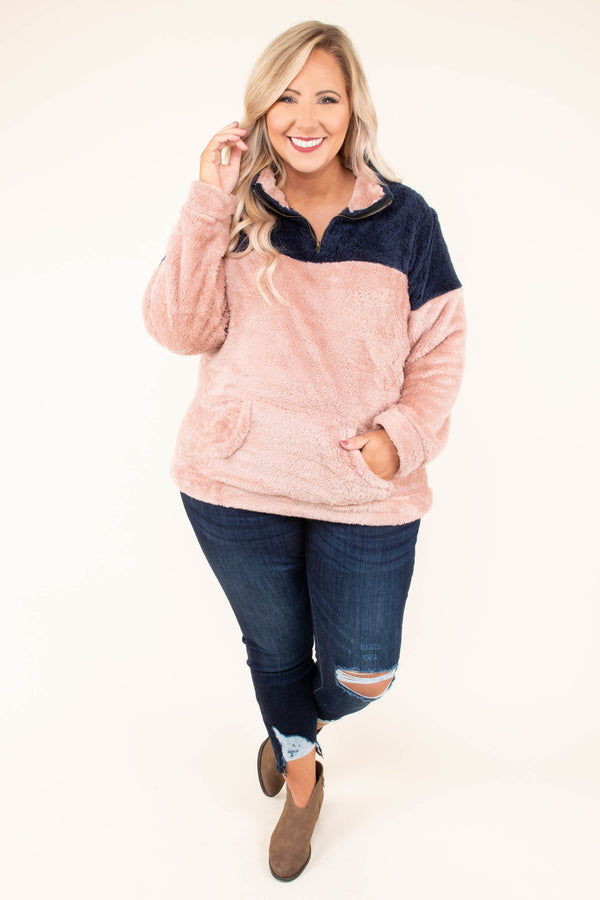 pullover, long sleeve, blush, navy, colorblock, quarter zip, front pocket, fuzzy, warm, cozy, outerwear, fall, winter