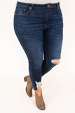jeans, blue, distressed, rip, cropped front, torn bottom