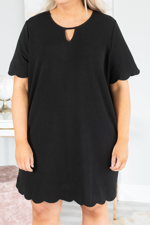 dress, short, short sleeves, scalloped sleeves, scalloped hem, keyhole neckline, black, solid, loose